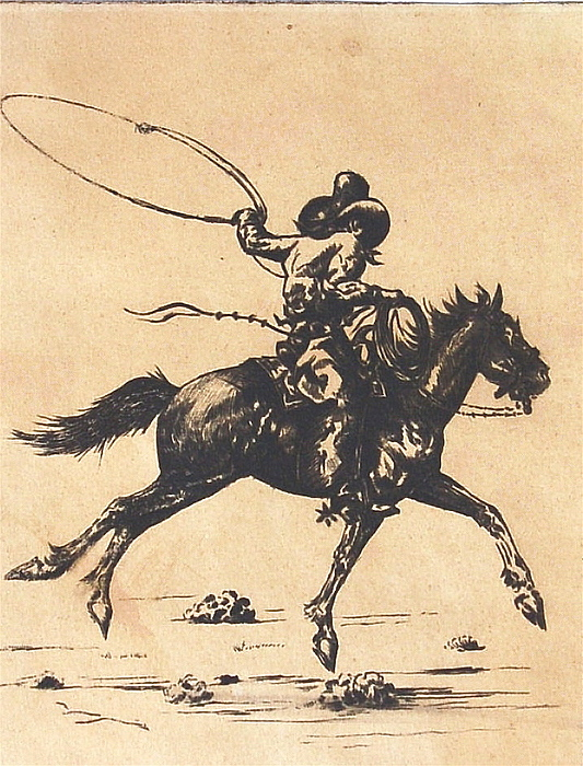 Cowboy Drawing - Cowboy In Roping Action by Smart Healthy Life