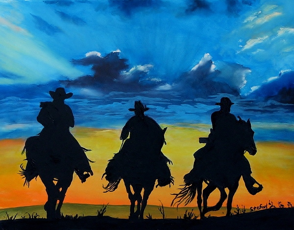 Cowboy Painting - Cowboy  Sunset by Stefon Marc Brown