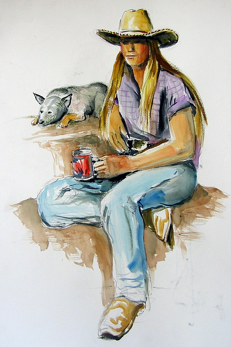 Cowgirl Painting - Cowgirl With Dog by Murray Keshner