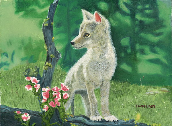 Dog Painting - Coyote Pup by Terry Lewey