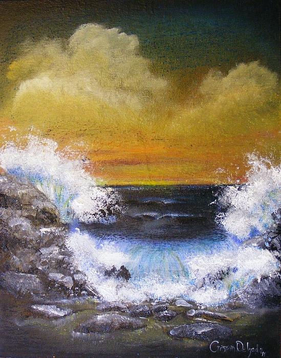 Water Painting - Crashing Waves by Crispin  Delgado