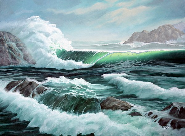 Sea Scape Painting - Crashing Waves by Lorraine Foster