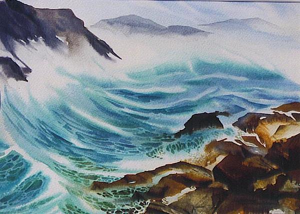 Rocks Painting - Crashing-waves by Nancy Newman