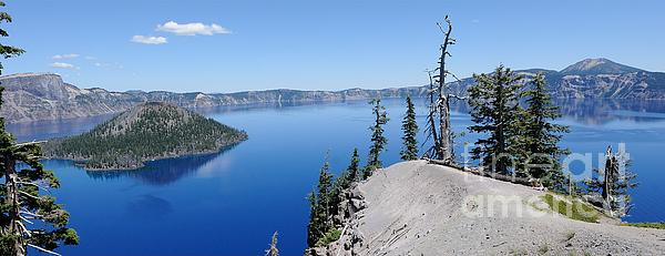 Wizard Island Photograph - Crater Lake Scenic Panorama by John Kelly