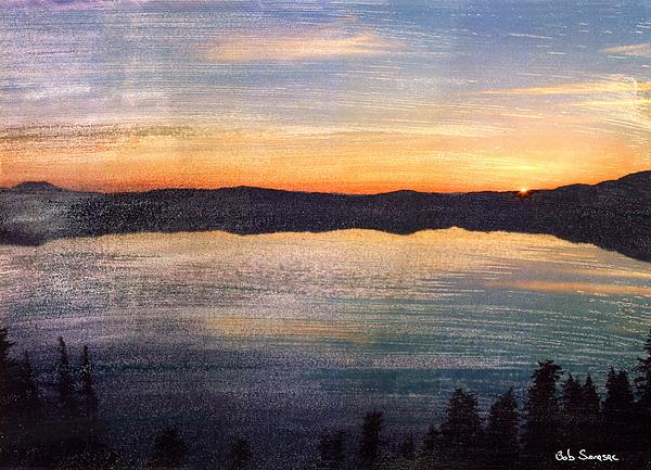 Sun Mixed Media - Crater Lake Sunrise by Bob Senesac