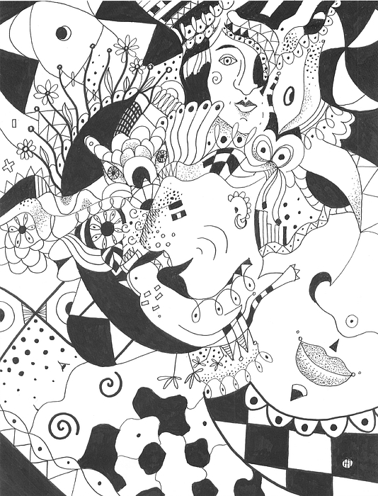 Playful Drawing - Creatures And Features by Helena Tiainen
