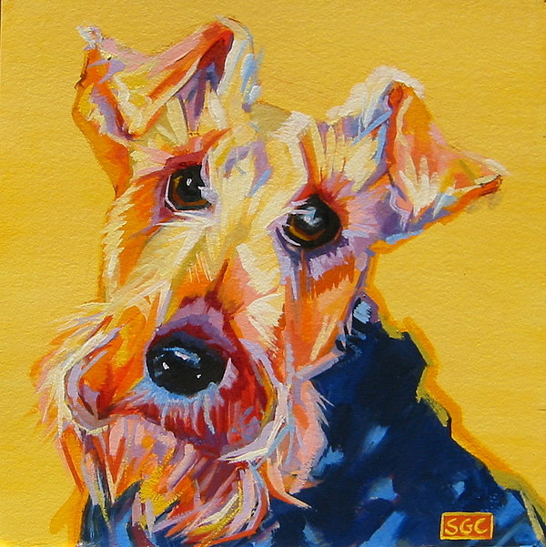 Dog Portrait Painting - Cricket by Sarah Gayle Carter