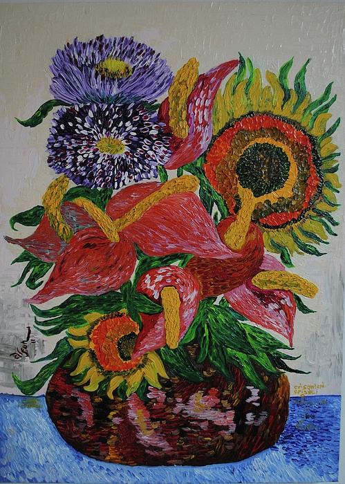 Crisantemi grisoli e anthurium in vaso di argilla painting - Crisantemi in vaso ...
