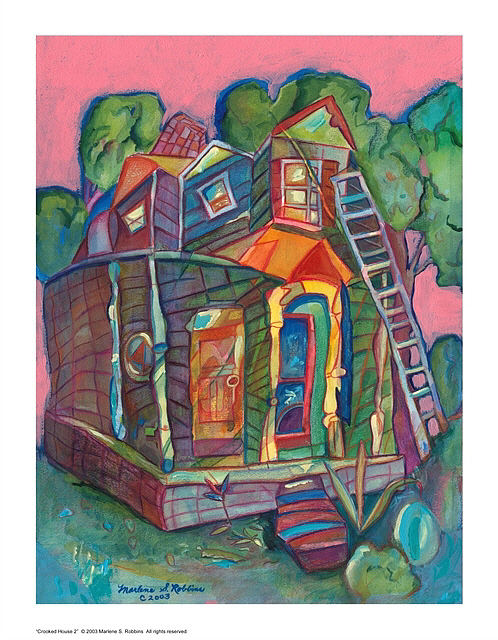House Painting - Crooked House 2 by Marlene Robbins