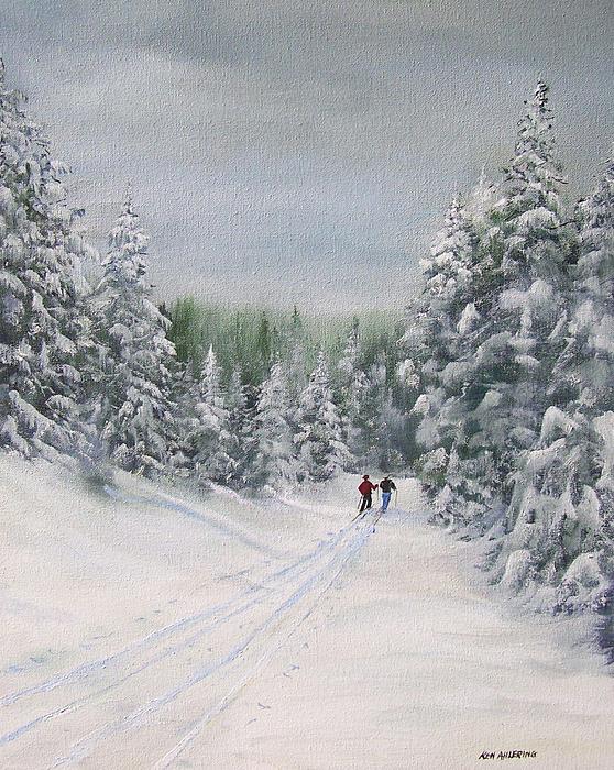 Ski. Skiing Painting - Cross Country Skiers by Ken Ahlering
