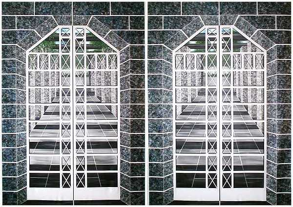 3d Painting - Cross Window Courtyard Tapestries by Michael Johnson