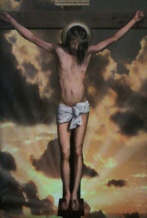 Jesus Painting - Cross With Rays Of Light by Unique Consignment