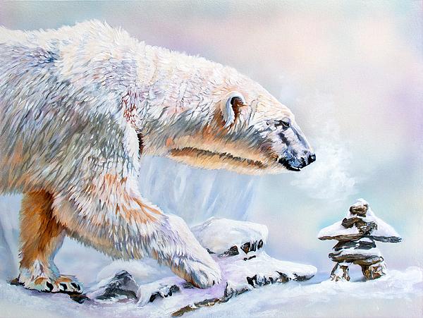 Polar Bear Painting - Crossroads by J W Baker