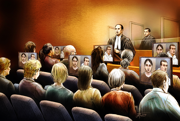 Crown Painting - Crown Kevin Gowdey Delivers Opening Address At The Rafferty Trial by Alex Tavshunsky