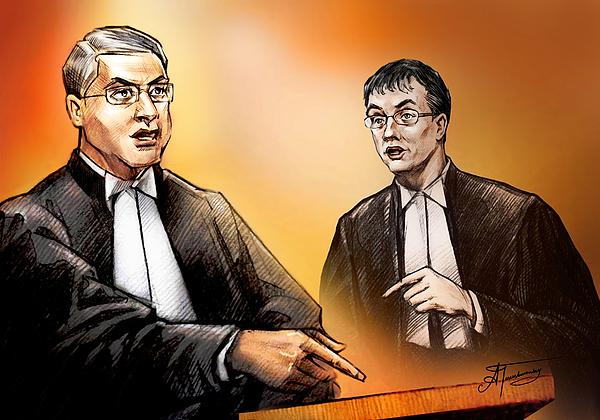 Crown Painting - Crown Michael Carnegie Versus Defence Lawyer Dirk Derstine At The Rafferty Trial by Alex Tavshunsky