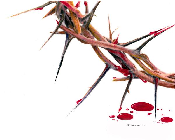 Jesus Drawing - Crown Of Thorns by Dennis Schmelzer