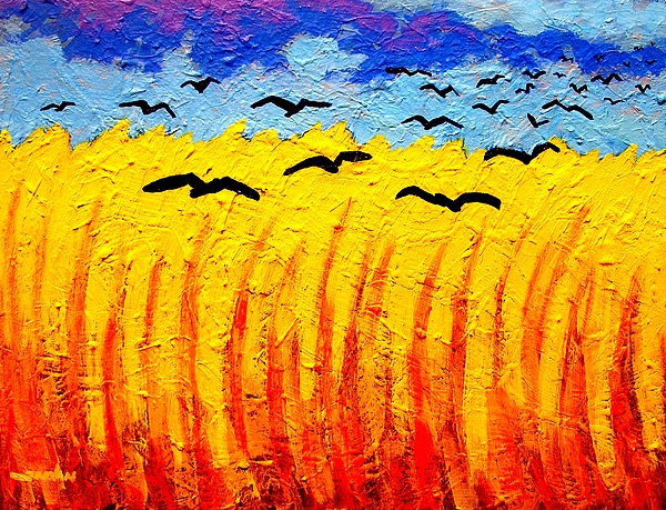 Vincent Van Gogh Painting - Crows Over Vincents Field by John  Nolan