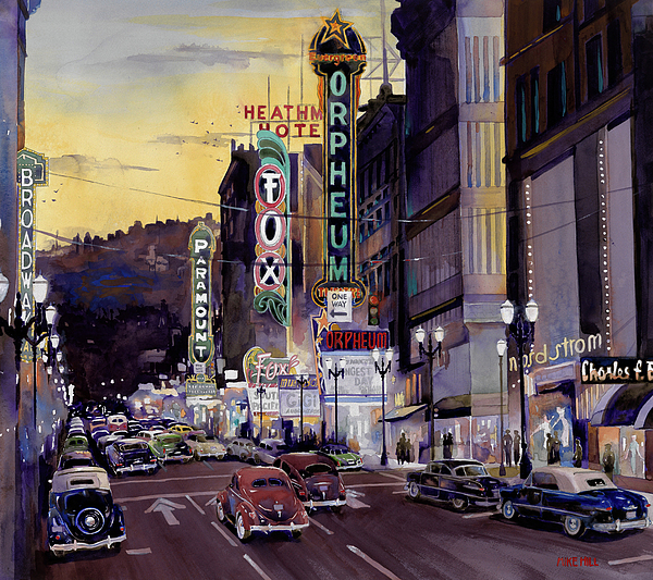 Portland Oregon Broadway Orpheum Theatre Theater Fox Theatre Paramount Theatre Broadway Theatre Cruising Crusin Heathman Hotel Charles F. Berg Nordstroms Watercolor Painting 1950 Ford 1936 1940 1948 1951 Mercury Hudson Mid Century Classics Antique Collector Cars Automobiles Drag Gut Strip Painting - Crusin Broadway In The Fifties by Mike Hill