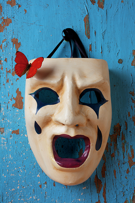 Crying Photograph - Crying Mask And Red Butterfly by Garry Gay