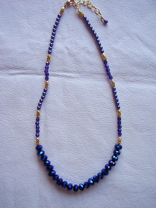 Jewelry Jewelry - Crystal And Pearl Necklace In Blues by Yvette Pichette