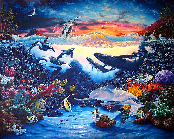 Whale Painting - Crystal Shore by Daniel Bergren