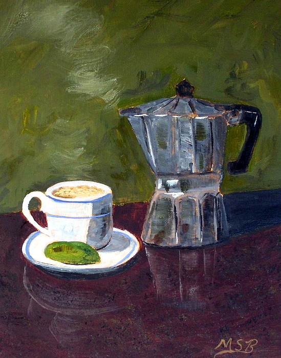 Cuban Coffee Painting - Cuban Coffee And Lime Green by Maria Soto Robbins