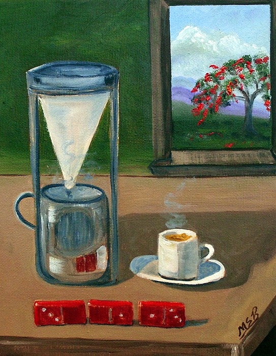 Cuban Coffee Painting - Cuban Coffee Dominos And Royal Poinciana by Maria Soto Robbins