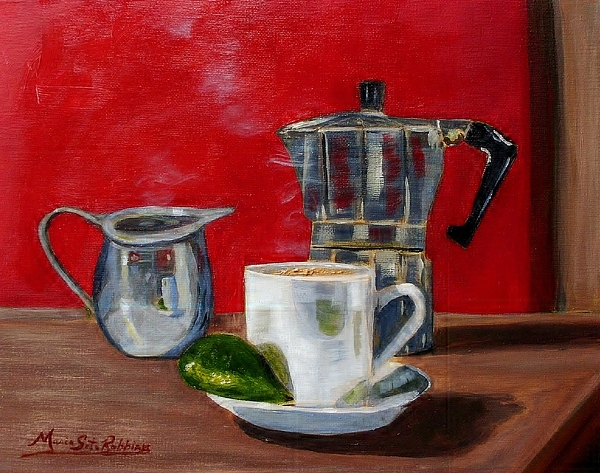 Cuban Coffee Painting - Cuban Coffee Lime And Creamer by Maria Soto Robbins