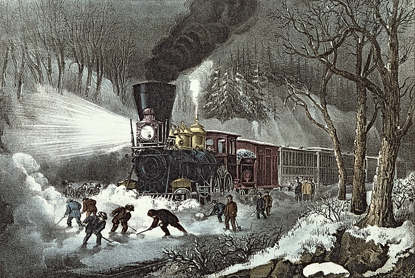 American Painting - Currier And Ives by American Railroad Scene