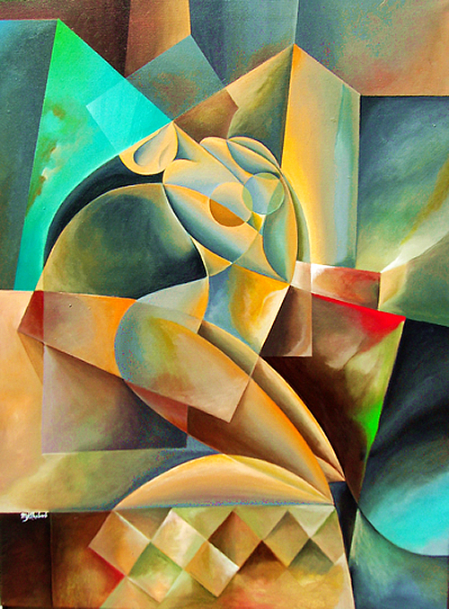 Curves In A Blue Room Painting by MJ Alhabeeb