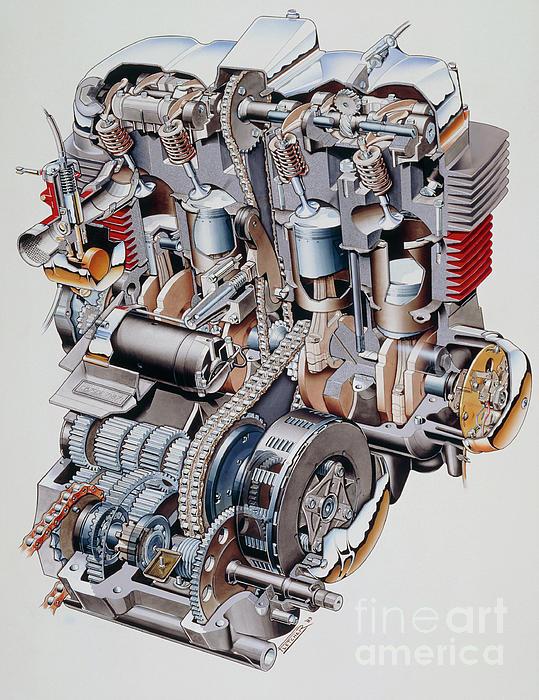 Cutaway Illustration Of Honda K2 Motorbike Engine