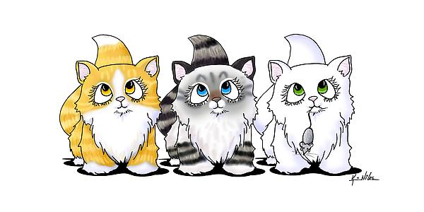 Cat Drawing - Cutie Face Kitten Trio by Kim Niles