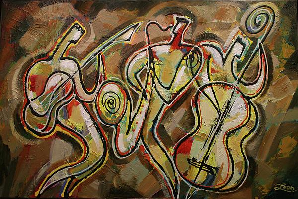 West Coast Jazz Painting - Cyber Jazz by Leon Zernitsky