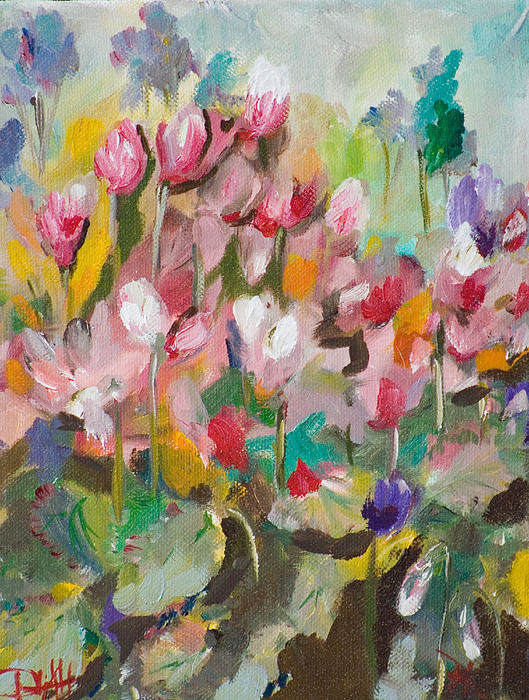 Floral Painting - Cyclamen No.3 by Delilah  Smith