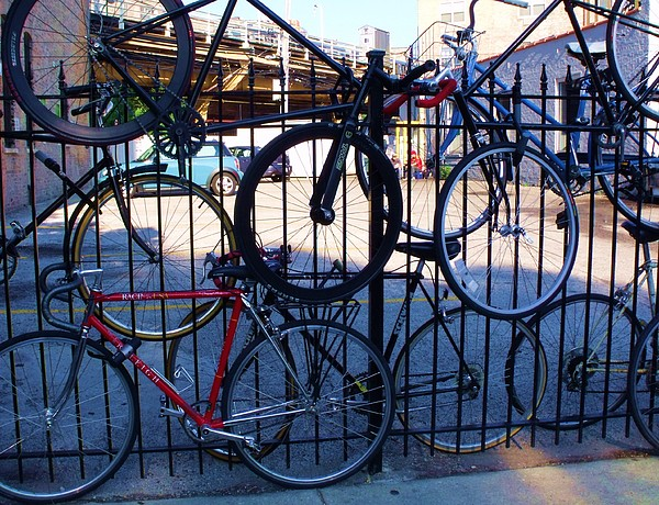 Bicycles Photograph - Cycle Fence by Anna Villarreal Garbis