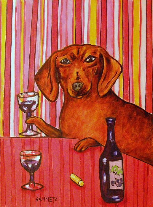 Dachshund Painting - Dachshund At The Wine Bar by Jay  Schmetz