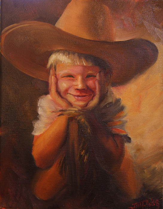 Oil Painting Painting - Dads Hat by Jill Holt