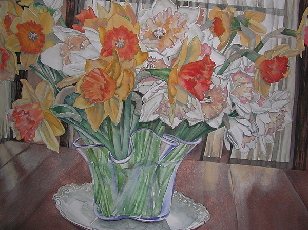 Watercolor Painting - Daffodil Bouquet by Caron Sloan Zuger