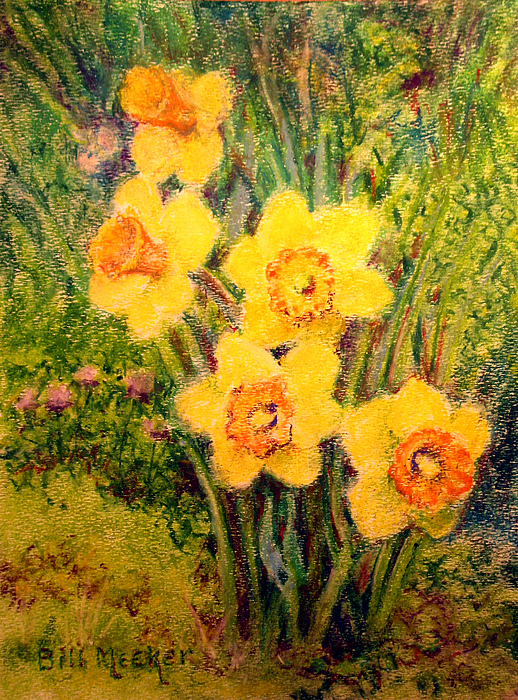 Floral Painting - Daffodil Quintet by Bill Meeker