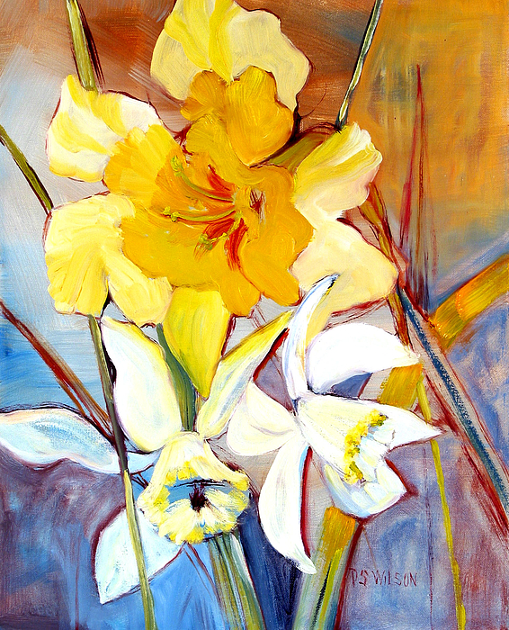 Daffodils Painting - Daffodils by Peggy Wilson
