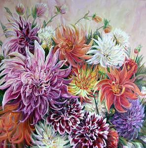 Dahlia Hiatus Painting by  Cami Thompson