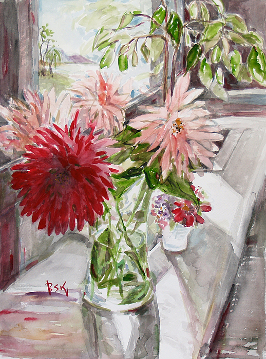 Floral Painting - Dahlias by Becky Kim