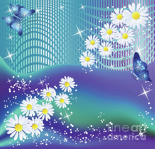 Flowers Mixed Media - Daisies And Butterflies On Blue Background by Heinz G Mielke