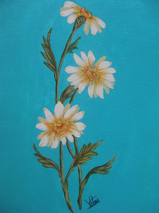 Floral Painting - Daisies by Swathi Kurunji