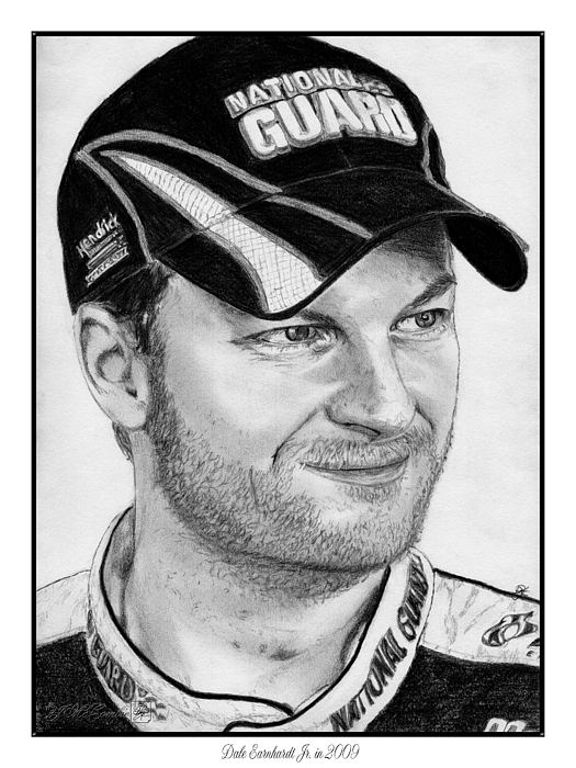 Athlete Drawing - Dale Earnhardt Jr In 2009 by J McCombie