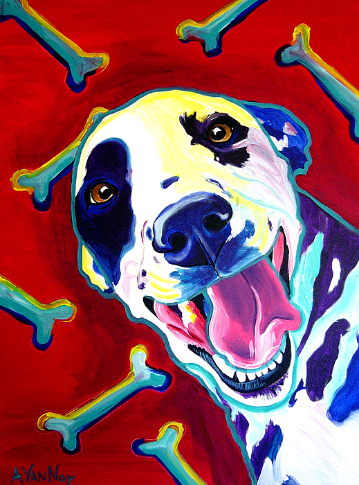 Dog Painting - Dalmatian - Yum by Alicia VanNoy Call