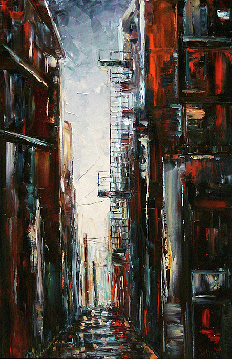 Cityscape Painting - Damp And Cold by Debra Hurd