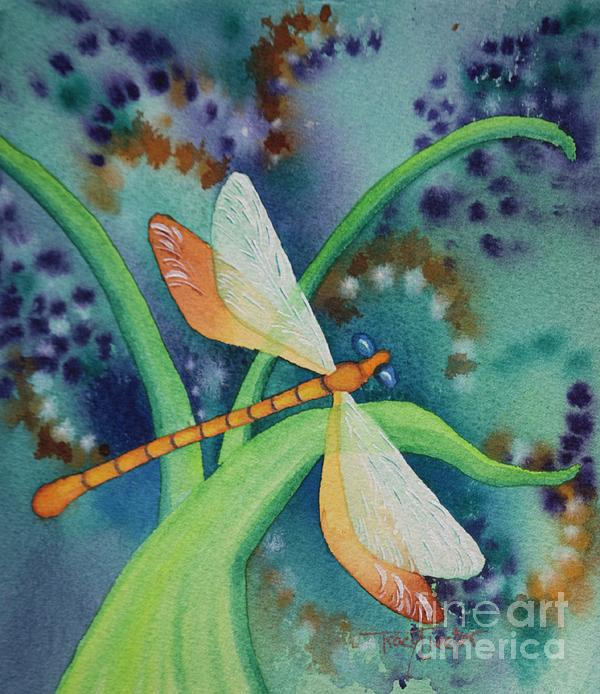 Damselfly Painting - Damsel In Gold by Tracy L Teeter