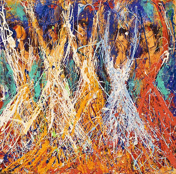 Red Painting - Dance Of Freedom by Reza Sepahdari