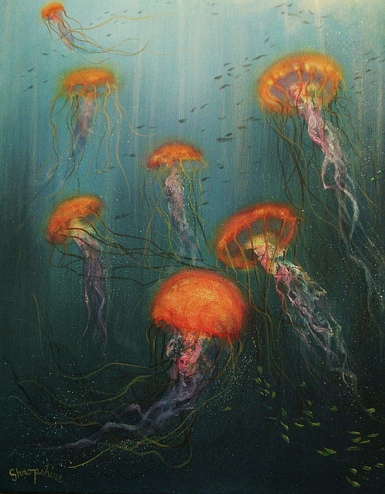 Jellies Painting - Dance Of The Jellyfish by Tom Shropshire